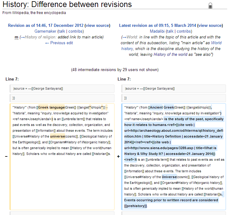 Changes between versions of the Wikipedia entry on History.